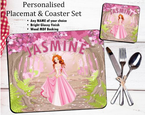 Personalised Kids Table Placemat & Coaster Set N37 - Princess Design